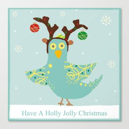 Holly Jolly Christmas Birdie Canvas Print