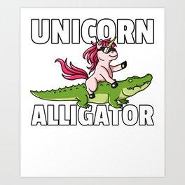 Unicorn Riding Crocodile Alligator Cute Art Print