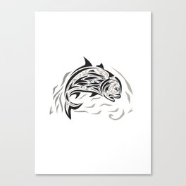Giant Trevally Jumping Down Tribal Art Canvas Print