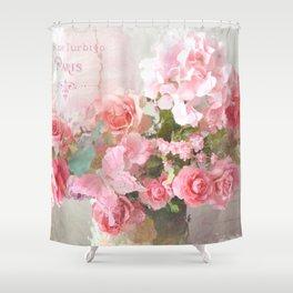 Paris Impressionistic Roses Floral Decor Shower Curtain