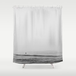 Surfers - Black and White Ocean Photography Huntington Beach California Shower Curtain