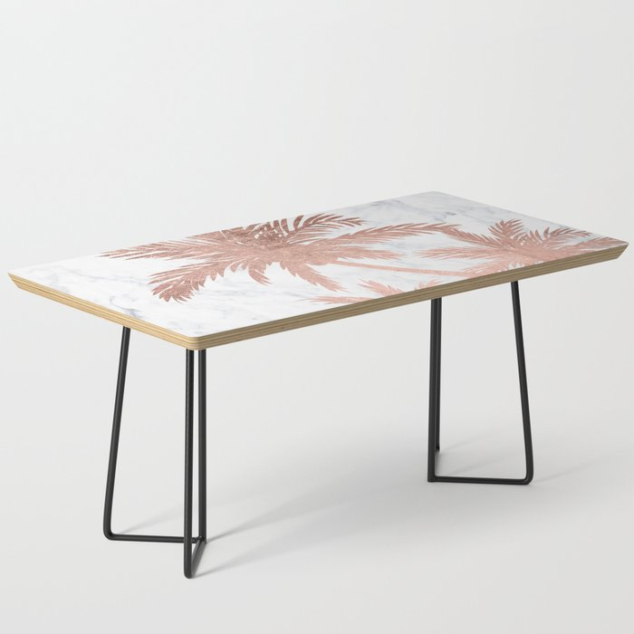 Gold And White Marble Coffee Table.Tropical Simple Rose Gold Palm Trees White Marble Coffee Table By Girlytrend
