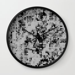 psychedelic circle pattern painting abstract background in black and white Wall Clock