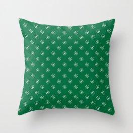 White on Cadmium Green Snowflakes Throw Pillow