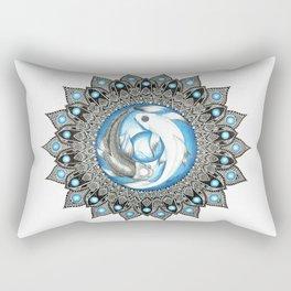 Yin and Yang Butterfly Koi Fish Mandala Rectangular Pillow