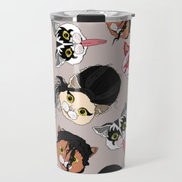 Pop Cats - Pattern French Gray Grey Travel Mug