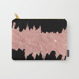 Modern abstract black faux rose pink glitter brushstrokes Carry-All Pouch