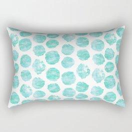 Turquoise and Aqua Watercolor Dots Rectangular Pillow