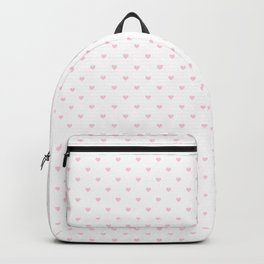 Light Soft Pastel Pink Mini Love hearts on White Backpack