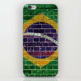 Brazil flag on a brick wall iPhone Skin