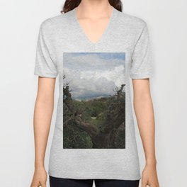 Countryside Hills Landscape with Olive Tree Unisex V-Neck