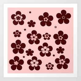 Pink with brown flowers Art Print