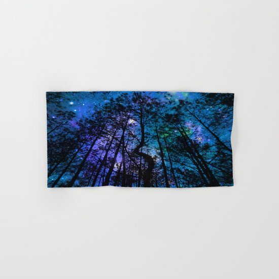 Black Trees Teal Purple Space Hand & Bath Towel