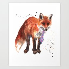Fox painting, watercolor fox, animal art, wildlife, animals in clothes, fox wearing a tie Art Print