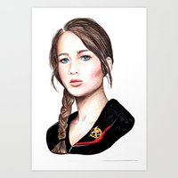 katniss Art Prints featuring Katniss. by Annie Mae Herring