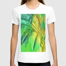 isolate palm tree with painting abstract background in green yellow T-shirt