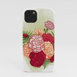 Full bloom | Ladybug carnation iPhone Case