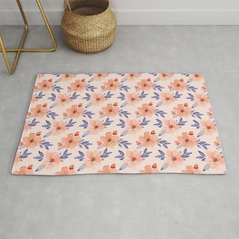 Coral and Blue Floral Print - Handpainted Watercolor Repeat Pattern Rug