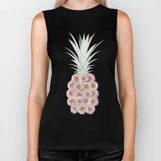 Floral Pineapple Stripes Pink Biker Tank