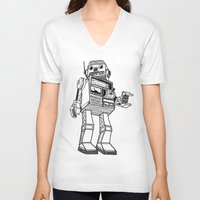 robot V-neck T-shirts featuring Robot. by Scott Mckenzie-Lee