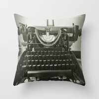 typewriter Throw Pillows featuring typEwriTer by ''CVogiatzi.