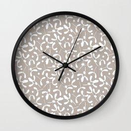 Mistletoe - Warm Gray Wall Clock