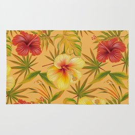 Leave And Flowers Pattern Rug