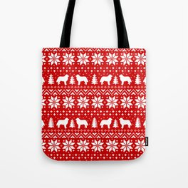Bernese Mountain Dog Silhouettes Christmas Sweater Pattern Tote Bag