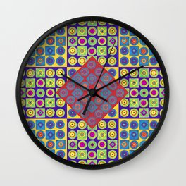 Brite Combo (Acrylic Painting on Paper No. 4) Wall Clock