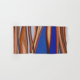 Retro Blues Browns Oranges Line Design with Pastels by annmariescreations Hand & Bath Towel