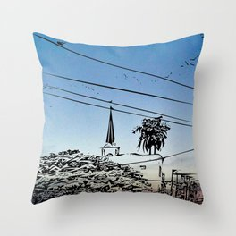 over smal trown the sunset Throw Pillow