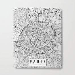 Paris City Map of France - Light Metal Print