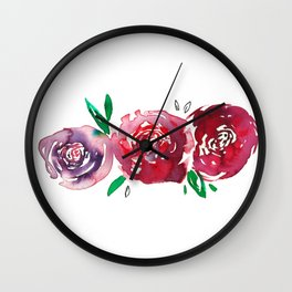 Three Red Christchurch Roses Wall Clock