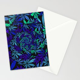 Aquatic Shades Marijuana Pot Leaf Kaleidoscope Mandala Stationery Cards