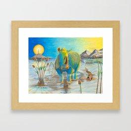 Rhino, Water Boy aka Puddles Framed Art Print