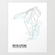 Revelstoke, BC, Canada - Minimalist Trail Map Art Print