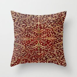 Golden Swirled Red Book Cover Throw Pillow