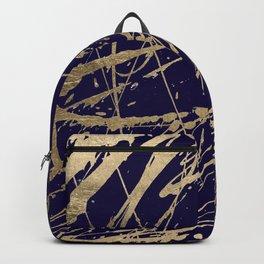 Elegant faux gold modern navy blue paint splatters Backpack