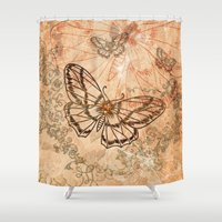 butterflies Shower Curtains featuring Butterflies by nicky2342