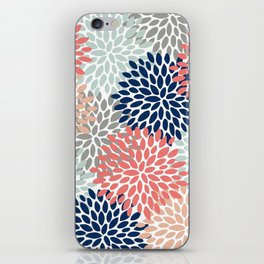 Floral Bloom Print, Living Coral, Pale Aqua Blue, Gray, Navy iPhone Skin