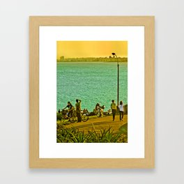 People Enjoyng a Sunny Day in a Park Framed Art Print