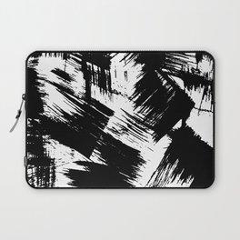 Modern black white watercolor brushstrokes pattern Laptop Sleeve