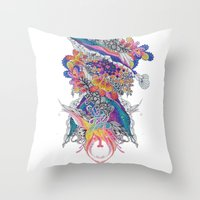psych Throw Pillows featuring Psych by Sushibird