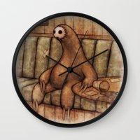 drunk Wall Clocks featuring Drunk Sloth by Brian Coldrick