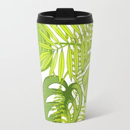 Green tropical leaves. Travel Mug