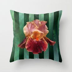 Pink and Red Iris Flower on Green Stripes Throw Pillow