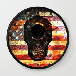 M1911 Colt 45 On Rusted American Flag Wall Clock
