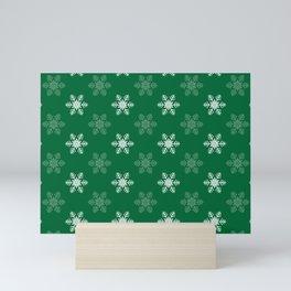Snowflake Pattern   Winter   Hygge   Scandi   Green and White   Mini Art Print
