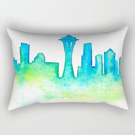 Seattle Skyline Watercolor in Blue and Green Rectangular Pillow