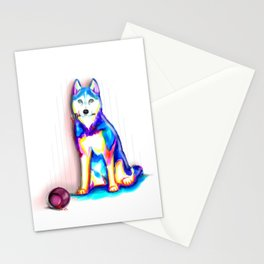 Husky with Paint Stationery Cards